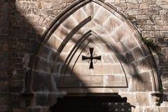 De Architectuuringang van de kerk Gotische Stijl, Barcelona, Spanje Royalty-vrije Stock Afbeeldingen