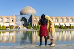 De architectuurmoskee van Iran Esfahan en bazar markt royalty-vrije stock foto