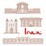 De architectuuroriëntatiepunten van Iran, sightseeing vector illustratie