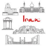 De architectuuroriëntatiepunten van Iran, sightseeing stock illustratie