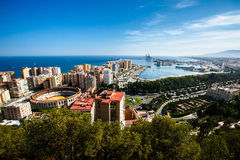 De arena en de haven van Malaga Stock Fotografie