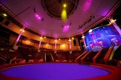 De arena van de cirkel in circus purpere lichte lampen Royalty-vrije Stock Afbeeldingen