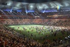 De arenastadion van Donbass, dat in Donetsk opent Royalty-vrije Stock Fotografie
