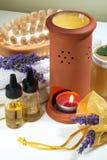 De aromatherapy lavendel van het kuuroord stock foto's