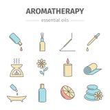 De Aromatherapyoliën overhandigen getrokken reeks Vector illustratie Royalty-vrije Stock Foto's