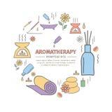 De Aromatherapyoliën overhandigen getrokken reeks Vector illustratie Stock Fotografie