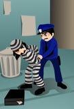 De arrestatie en doet de Inbreker de handboeien om vector illustratie