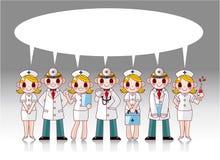 De arts en de verpleegster van het beeldverhaal toespraakkaart Royalty-vrije Stock Afbeeldingen