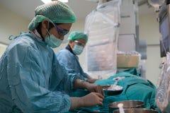 De arts en het personeel behandelen met Angiografie Royalty-vrije Stock Fotografie