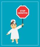 De arts houdt een teken zeggend eindehepatitis Stock Foto