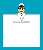 De arts met stethoscoop houdt in het blad van de handentablet Modern vlak ontwerp Stock Afbeeldingen