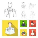 De arts, proef, de serveerster, de bouwer, de metselaar Pictogrammen van de beroeps de vastgestelde inzameling in overzicht, vlak vector illustratie