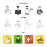 De arts, proef, de serveerster, de bouwer, de metselaar Pictogrammen van de beroeps de vastgestelde inzameling in vlakte, zwart-w vector illustratie