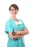De arts schrobt binnen met stethoscoop Stock Afbeelding