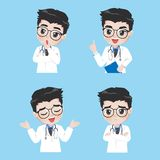 De arts toont een verscheidenheid van gebaren en acties in het werkkleren stock illustratie