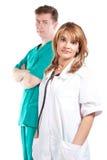 De arts van de vrouw met een collega royalty-vrije stock foto's