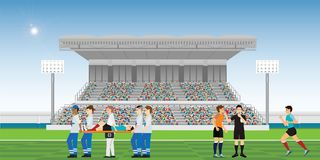 De artsen helpen de verwonde voetballer vector illustratie
