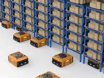De assemblage van de pakhuisrobot Stock Afbeeldingen