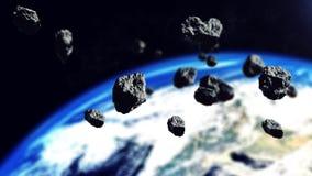 De asteroïden klaar om op de Aardeplaneet aan te vallen royalty-vrije illustratie