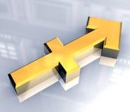 De astrologiesymbool van de Boogschutter in (3d) goud Stock Afbeelding