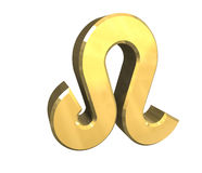 De astrologiesymbool van de Leeuw in (3d) goud Stock Afbeeldingen