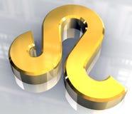 De astrologiesymbool van de Leeuw in (3d) goud Royalty-vrije Stock Fotografie