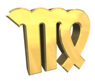 De astrologiesymbool van de Maagd in (3d) goud Royalty-vrije Stock Afbeelding