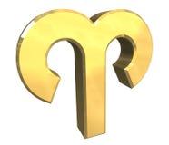 De astrologiesymbool van de Ram in (3d) goud Stock Fotografie