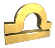 De astrologiesymbool van de Weegschaal in (3d) goud Stock Afbeelding