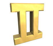 De astrologiesymbool van Tweeling in (3d) goud Royalty-vrije Stock Foto's