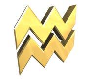 De astrologiesymbool van Waterman in (3d) goud Stock Afbeelding