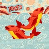 De astrologische Vissen van het dierenriemteken Een deel van een reeks horoscooptekens Stock Afbeelding