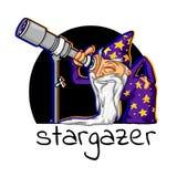 De astroloog van het pictogrambeeldverhaal Royalty-vrije Stock Afbeeldingen