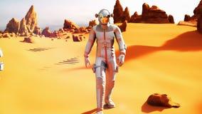 De astronaut bij de winst van Mars naar van hem brengt Rover na de exploratie van planeet in de war royalty-vrije illustratie
