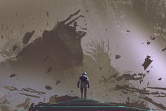 De astronaut die op lichte weg in dode aarde lopen stock illustratie