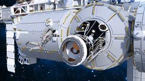 De astronaut die ruimtestation ingaan door airlock, kosmonaut in ruimte naast een 3D ruimtevaartuig, geeft terug Vector Illustratie