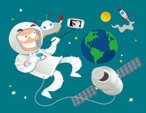 De astronaut houdt ook van selfie! Stock Foto