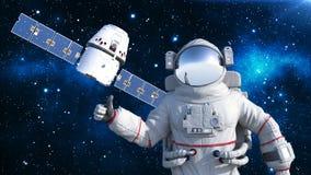 De astronaut met satelliet die duimen tonen, kosmonaut die in ruimte met ruimtevaartuig op de 3D achtergrond drijven, geeft terug Vector Illustratie