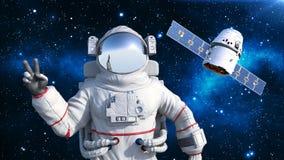 De astronaut met satelliet die overwinningsteken, kosmonaut tonen die in ruimte met ruimtevaartuig op de 3D achtergrond drijven,  Royalty-vrije Illustratie