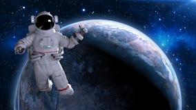 De astronaut in ruimte die duimen opgeven, kosmonaut die boven 3D aarde drijven, geeft terug Royalty-vrije Illustratie