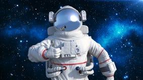 De astronaut in spacesuit die duimen tonen, kosmonaut die in ruimte drijven, sluit omhoog mening, 3D geef terug royalty-vrije illustratie