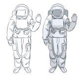 De astronaut in spacesuit met opgeheven dient begroeting in Stock Foto's
