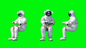 De astronaut zit idlle Het groene scherm het 3d teruggeven Stock Afbeelding