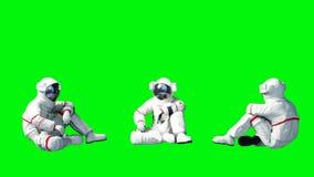 De astronaut zit idlle Het groene scherm het 3d teruggeven Stock Foto's