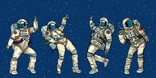 De astronauten dansende mannen en vrouwen van de discopartij royalty-vrije illustratie