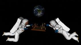 De astronauten spelen Schaak in Ruimte vector illustratie