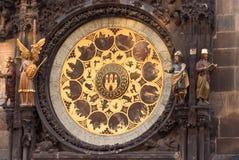 De astronomische klok van Orloj Praag, Tsjechische Republiek royalty-vrije stock foto's