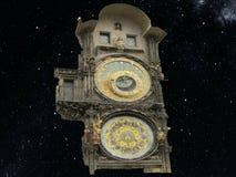 De Astronomische Klok van Praag 1402 jaar Op een sterrige achtergrond royalty-vrije stock foto