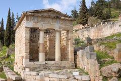 De Athenians Thesaurus in Delphi stock fotografie