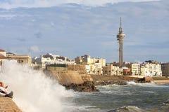 De Atlantische Oceaan dichtbij Cadiz, Andalusia, Spanje Stock Fotografie